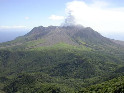 View of the Soufriere Volcano from Katy Hill, the highest point in the Centre Hills